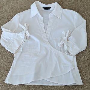 EUC BCBG MAXAZRIA 3/4 sleeve wrap front blouse